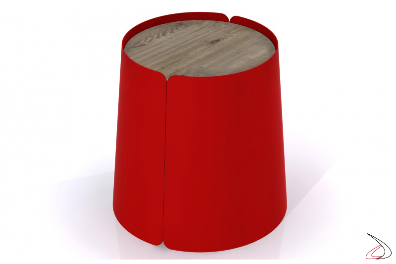 Tavolino rotondo di design con top in eco-abete