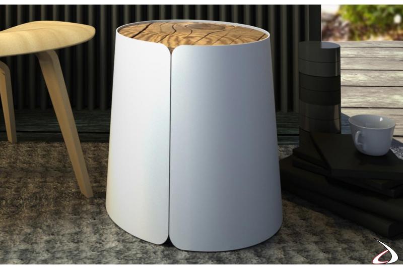 Tavolino rotondo con top in eco-abete