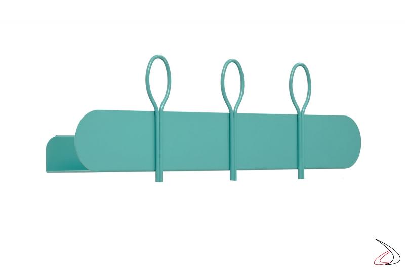 Appendiabiti moderno con mensola in metallo colorato