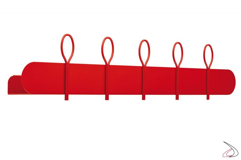 Appendiabiti in metallo rosso da muro con mensola