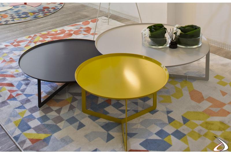 Tavolini design rotondi da soggiorno in metallo verniciato