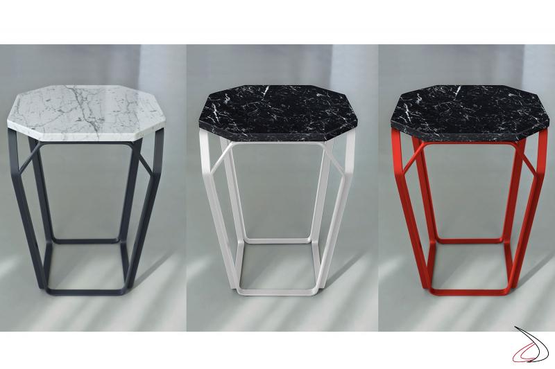 Tavolini alti quadrati in marmo di design da soggiorno