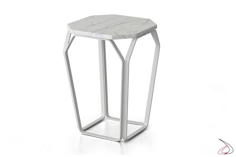 Tavolino in marmo bianco da fianco divano