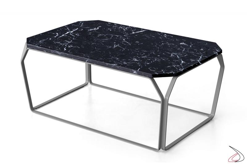 Tavolino da soggiorno basso in marmo nero