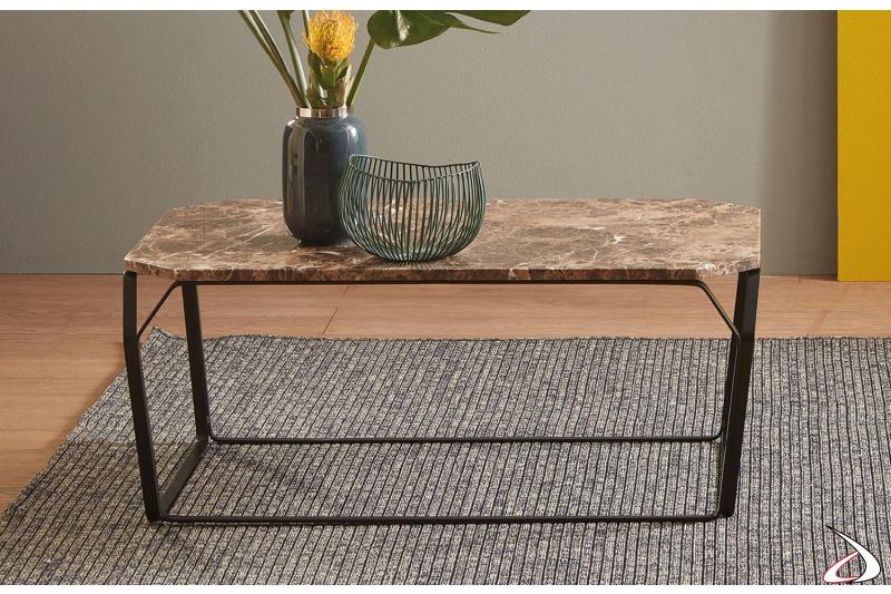 Tavolino moderno basso rettangolare in marmo marrone