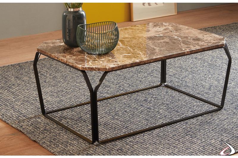 Tavolino basso rettangolare in acciaio con piano in marmo