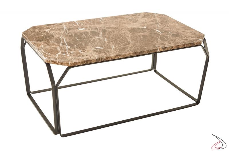 Tavolino di design basso in marmo marrone