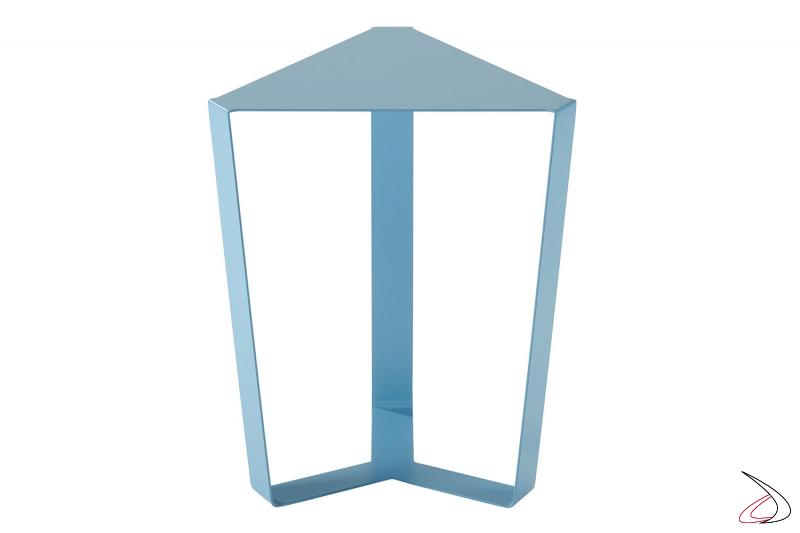 Tavolino triangolare in metallo azzurro