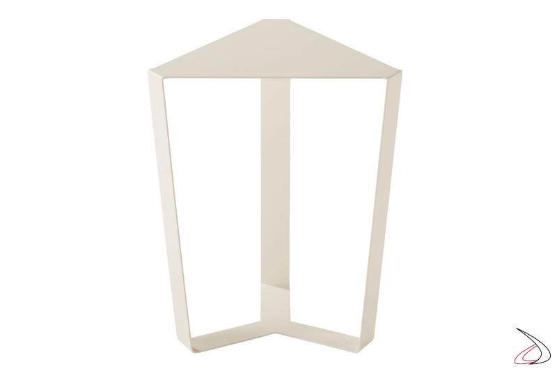 Tavolino triangolare in metallo bianco