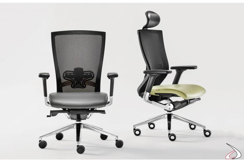 Poltrona presidenziale design da ufficio con schienale in rete nera