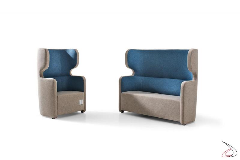 Poltrona e divano imbottiti di design bicolore con schienale alto insonorizzato