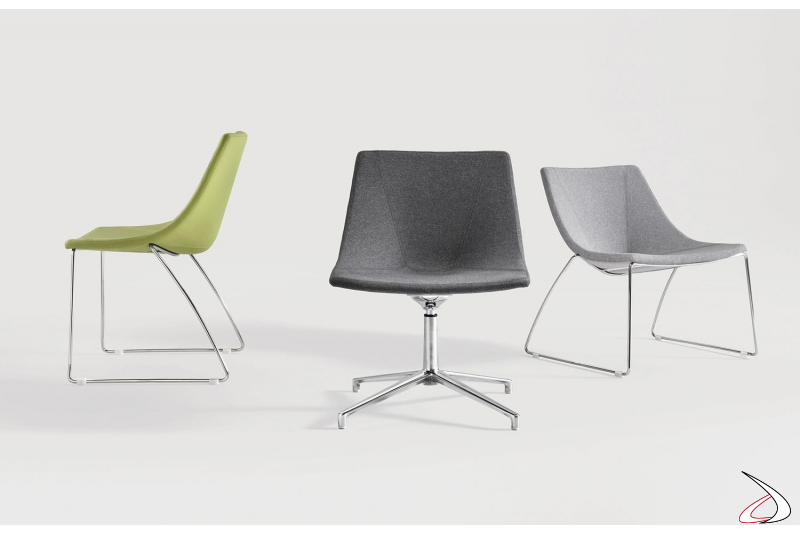 Poltrone di design girevole o su slitta con seduta larga e bassa