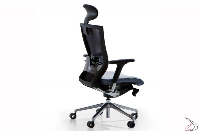 Sedia presidenziale per ufficio nera con poggiatesta