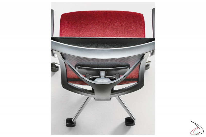 Sedia economica ergonomica con supporto lombare e base in alluminio