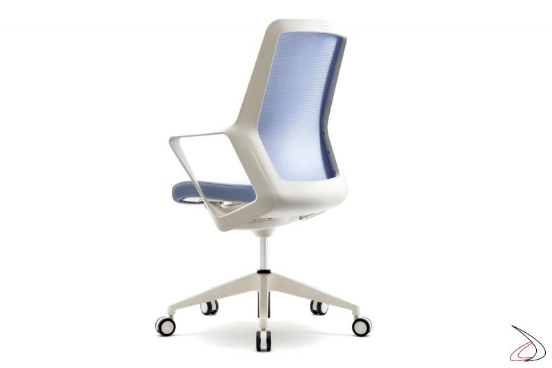 Sedia ufficio operativa bianca con schienale in rete