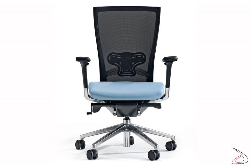 Sedia presidenziale per ufficio con seduta azzurra