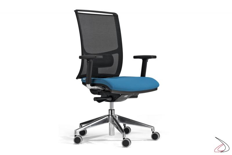 Sedia ufficio moderna con schienale in rete