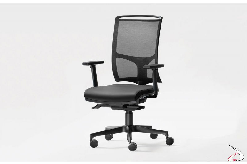 Sedia ergonomica da ufficio con schienale in rete e braccioli moderna