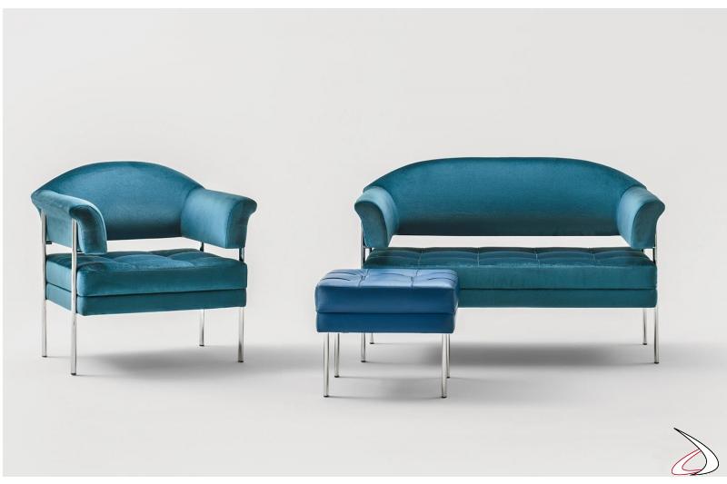 Sedute sala attesa ufficio con pouf poltrona e divanetto in ecopelle blu