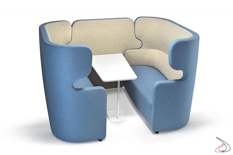 Divani con schienale alto insonorizzato con tavolino per sala attesa open space