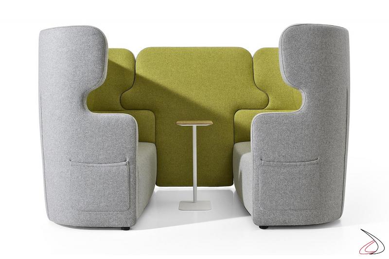Divani sala attesa imbottiti bicolore di design con schienale alto per privacy