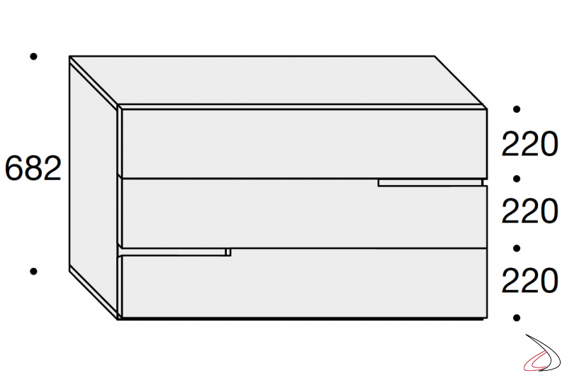 Sizes chest of drawers with 3 drawers