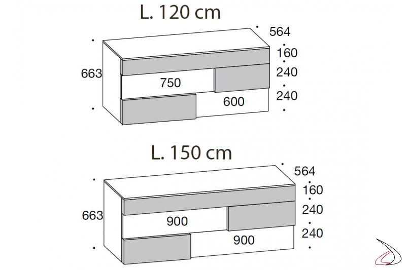 Misure comò di design a 5 cassetti