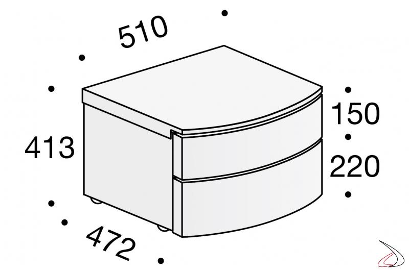 Misure comodino moderno con cassetti curvati