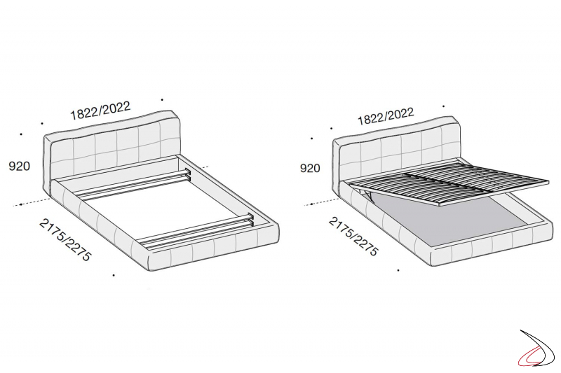 padded double bed sizes