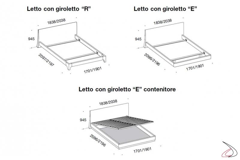 Misure letto moderno contenitore in legno