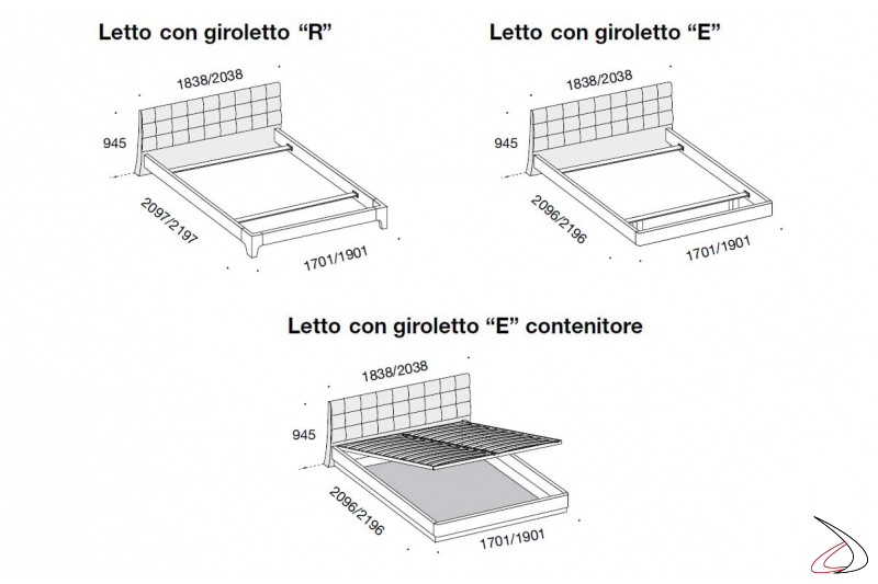 Misure letto moderno e contenitore in legno
