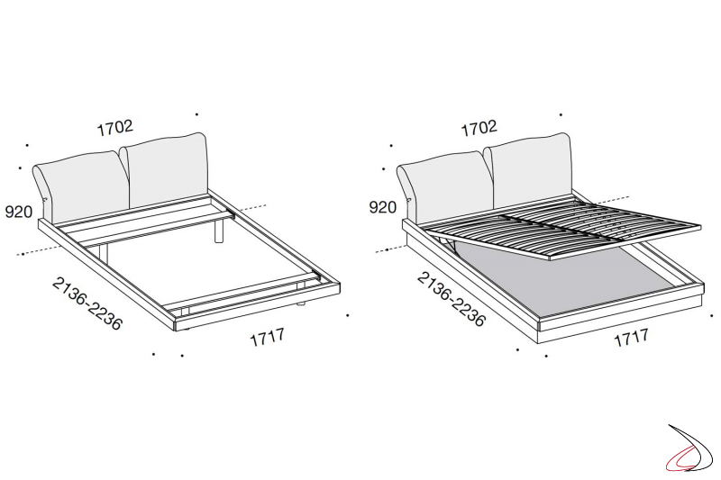 Bed with or without storage sizes