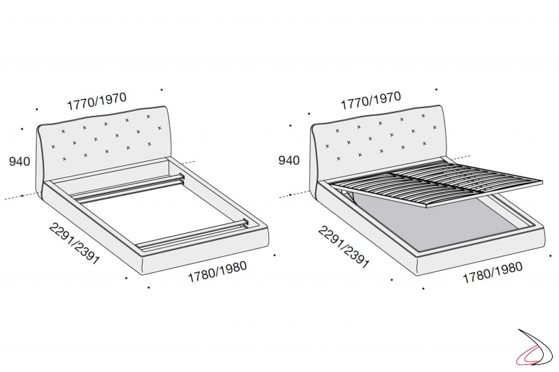 Measures modern bed with or without storage