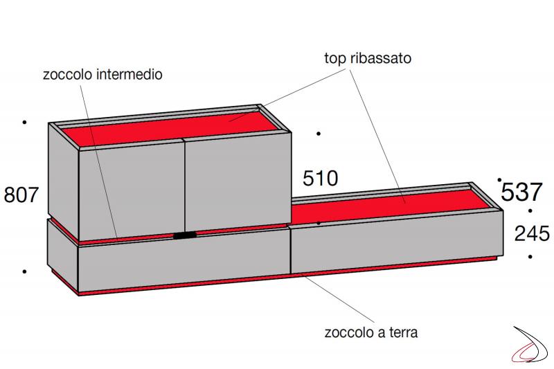 Misure madia design in legno con ante e cassetti