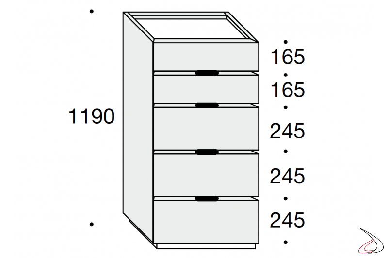 Sizes of the modern septet with 5 drawers