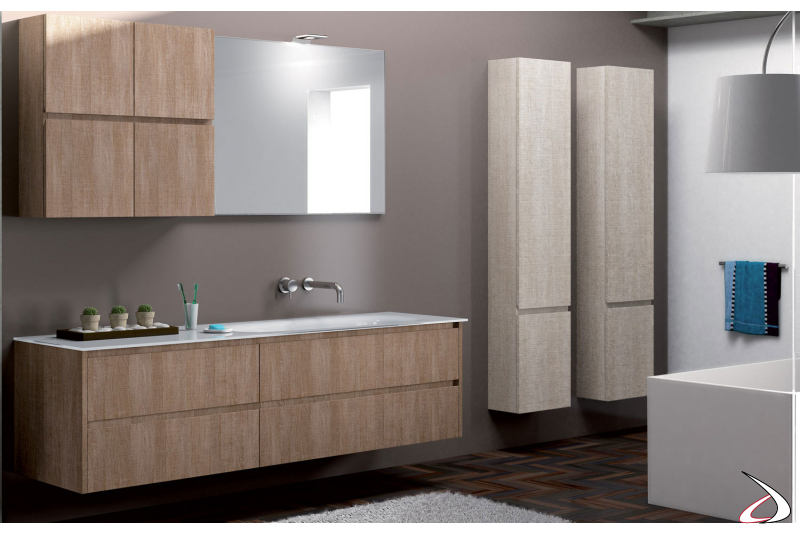 Mobile bagno moderno con pensile, basi e colonne sospese