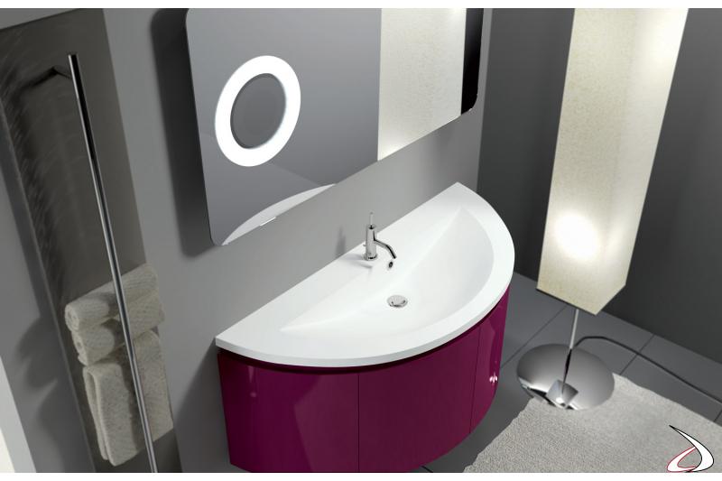 Mobile bagno sospeso curvo con specchiera
