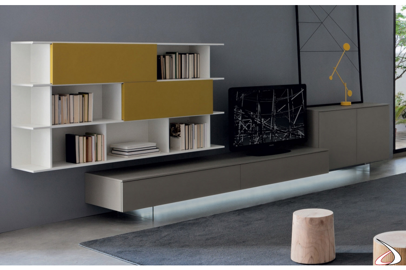 Modern living room with library and TV base