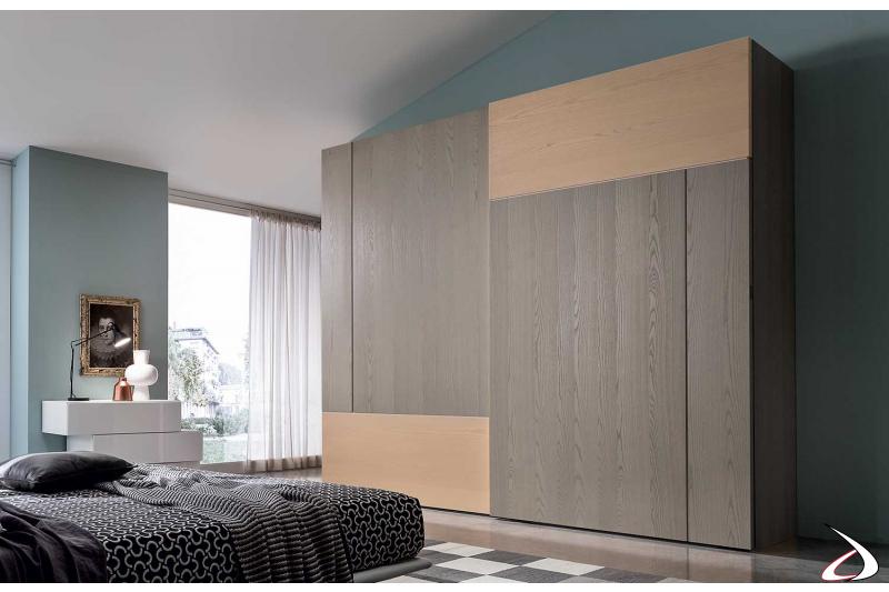 Armadio 2 ante scorrecoli in legno frassino multicolore per camera da letto