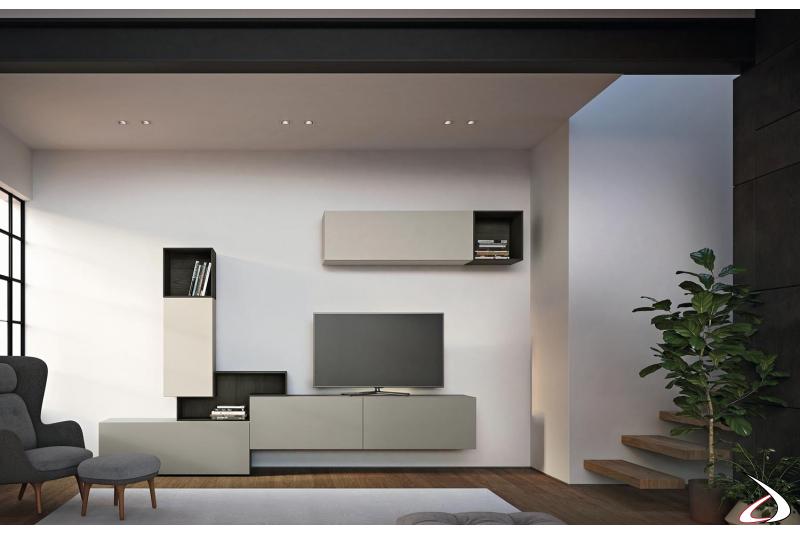 Arredo soggiorno elegante e di design completamente personalizzabile