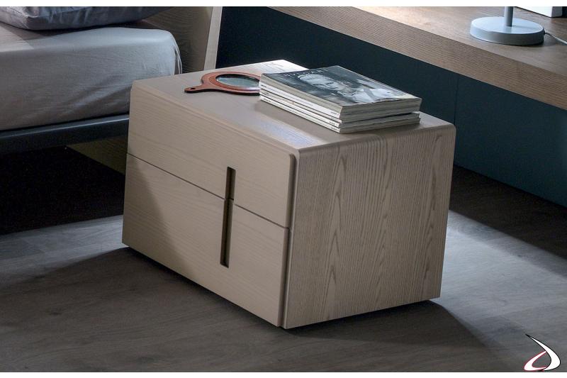 Comodino moderno in legno per camera da letto
