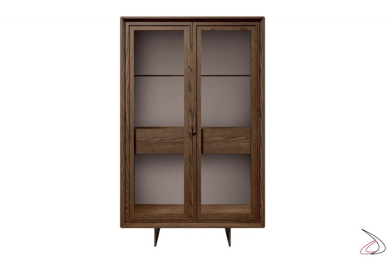 Credenza in legno massello con ante in vetro e cassetto