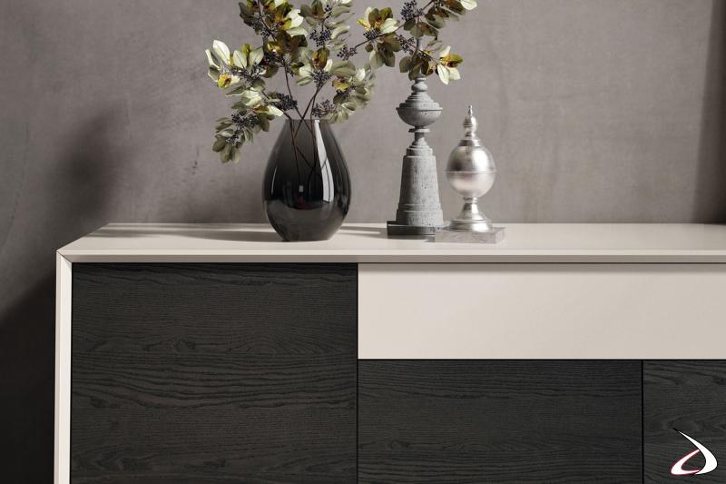 Madia di design da soggiorno in legno massello di frassino e in laccato opaco