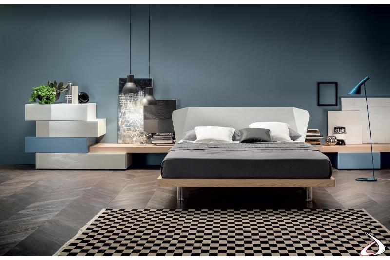 Camera da letto in legno di design con letto matrimoniale in legno frassino bicolore