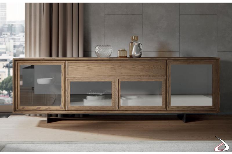 Madia bassa classica moderna in legno massello
