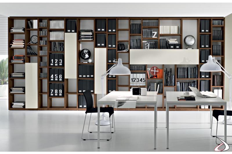 Libreria moderna in legno da soggiorno