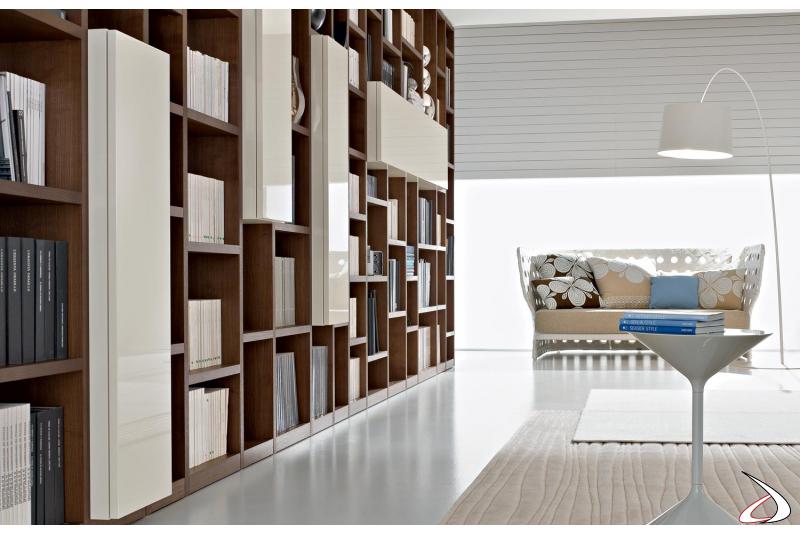 Libreria a terra di design in legno da soggiorno
