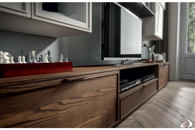 Mobile soggiorno contemporaneo con base porta tv in legno