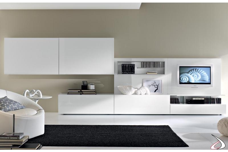 Parete soggiorno componibile moderno in legno