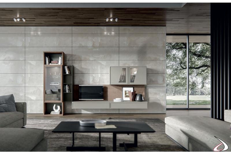 Composizione soggiorno moderna con vetrine